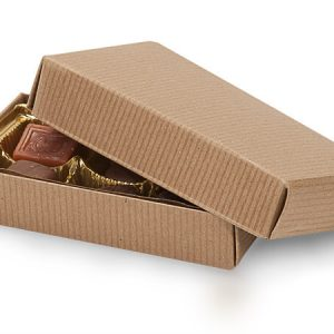 "2 Pc Candy Boxes - 1/4 lb Kraft Pinstripe Candy Boxes 1 Layer 2 Pc. 5 - 1/4x2 - 15/16x1 - 1/8"" (100 boxes)"