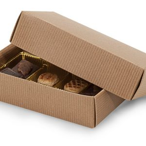 "2 Pc Candy Boxes - 1/2 lb Kraft Pinstripe Candy Boxes 1 Layer 2 Pc. 6 - 1/2x3 - 3/4x1 - 3/4"" (100 boxes)"