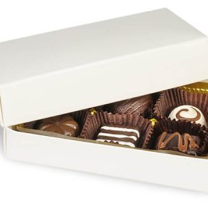 "2 Pc Candy Boxes - 1/4 lb White Candy Boxes - 1 Layer 2 Pc. 5 - 1/4x2 - 15/16x1 - 1/8"" (100 boxes)"