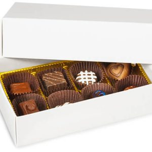 "2 Pc Candy Boxes - 1/2 lb White Candy Boxes - 1 Layer 2 Pc. 6 - 1/2x3 - 3/4x1 - 3/4"" (100 boxes)"