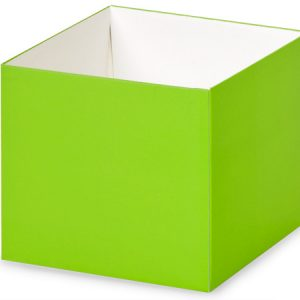 "Gift Gourmet Boxes - 4x4x3 - 1/2"" Solid Matte Lime Green Gourmet Box Base - (2 Packs; 25 Per Pack)"