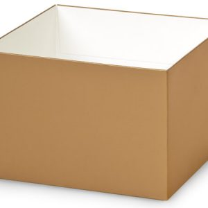 """Gift Gourmet Boxes - 6x6x4"""" Solid Matte Gold Gourmet Box Base - (2 Packs; 25 Per Pack)"""