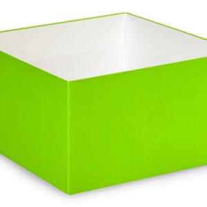 """Gift Gourmet Boxes - 10x10x5 - 1/2"""" Solid Matte Lime Green Gourmet Box Base - (25 Per Pack)"""