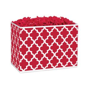 """Classic Design Basket Boxes - Small Geo Graphics Red Basket Boxes 6-3/4"""" x 4"""" x 5"""" - (5 Packs; 6 Boxes Per Pack)"""