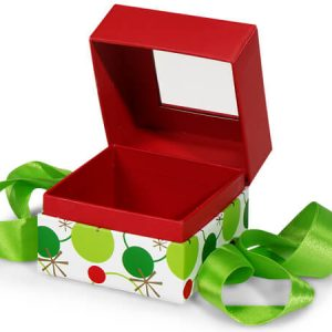 "Christmas Presentation Boxes - Mini Pk Hip Holiday Petite Pres Box Square Box w/ Ribbon 3 - 3/4x3 - 3/4x3"" - (4 Packs; 3 Boxes Per Pack)"