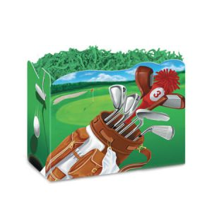"All Occasion Basket Boxes - large_Golf Scene Basket Boxes 10-1/4x6x7-1/2"" - (2 Packs; 6 Boxes Per Pack)"
