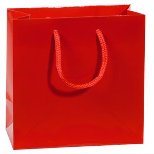 "Gloss Laminated Gift Bags - Red Gloss Gift Bags Jewel Mini Pk 6-1/2x3-1/2x6-1/2"" (6 Packs; 10 Bags Per Pack)"
