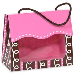 "Gourmet Window Totes - Pink & Chocolate Swirls Window Tote Small 5 - 1/8x2 - 5/8x4 - 1/4"" (3 Packs; 6 Totes Per Pack)"