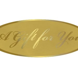 "A Gift For You Foil Gold On Gold Seals 2 -1/2x15/16"" (5 Packs; 250 Labels Per Pack)"
