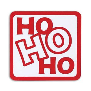 "Ho Ho Ho Matte Red & White Seals 1 -1/2"" Square (4 Packs; 500 Labels Per Pack)"