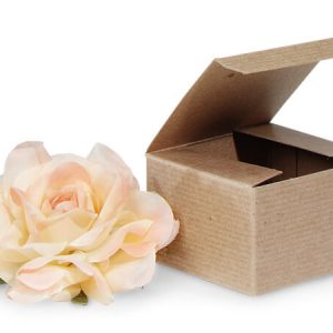 "100% Recycled Kraft Gift Boxes - Brown Kraft Gift Boxes 3x3x2"" 100% Recycled Varnish Stripe - 1 Pc (2 Packs; 100 Boxes Per Pack)"