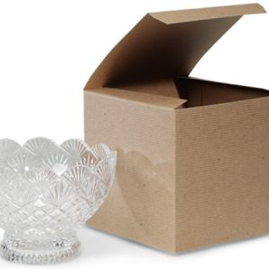 "100% Recycled Kraft Gift Boxes - Brown Kraft Gift Boxes 6x6x6"" 100% Recycled Varnish Stripe - 1 Pc (100 boxes)"