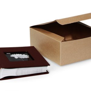 "100% Recycled Kraft Gift Boxes - Brown Kraft Gift Boxes 8x8x3 - 1/2"" 100% Recycled Varnish Stripe - 1 Pc (100 boxes)"