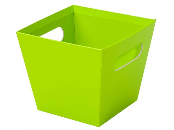 """Beveled Tall Market Trays - large_Lime Green Square Gourmet Market Tray 6-1/2x6-1/2x5-1/2"""" - (3 Packs; 6 Trays Per Pack)"""