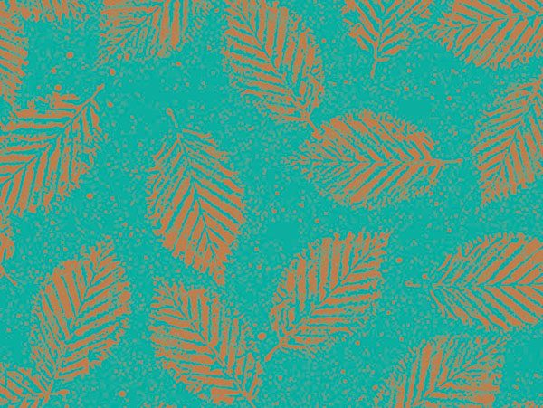 """Floral Wrap - Copper Leaves 18""""x833' Gift Wrap Full Ream Roll (1 roll)"""