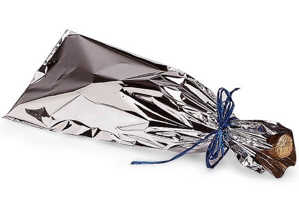 "Metallic Wine Gift Bags- 6-1/2""x18"" Silver Wine Bags Metalized Oriented Polypropylene (3 Packs; 100 Bags Per Pack)"