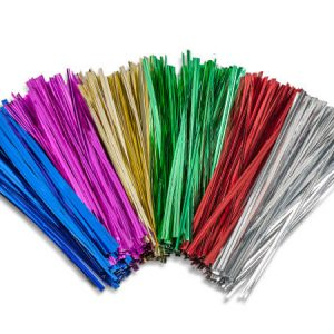 "4"" Twist Ties~ Assortment~ 5 Colors Gold, Silver, Pink, Emerald & Red (8 Packs of 1000)"