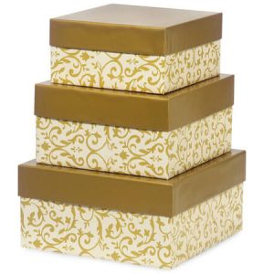 Gift Box Tower Set - Florentine Tapestry Gold Nested Box (3 Packs of 3 Nested Boxes)