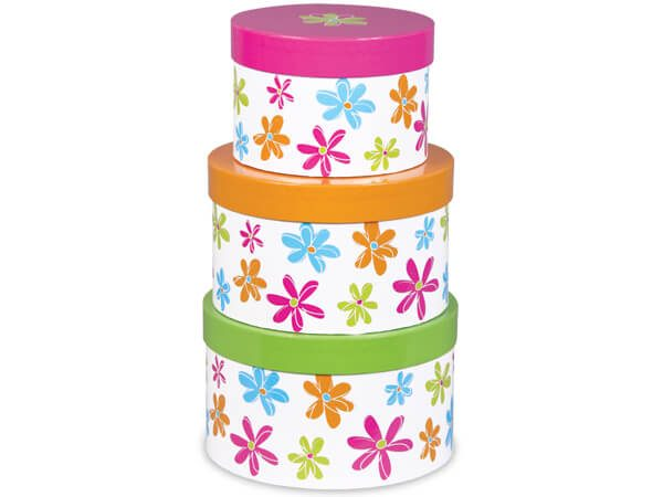 Round Gift Box Towers - Citrus Blossoms Nested Boxes (3 Packs of 3 Nested Boxes)