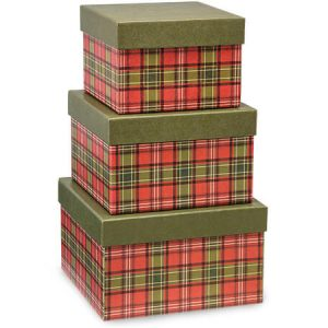 Christmas Gift Box Tower Set - Holiday Plaid Nested Boxes (5 Packs of 3 Nested Boxes)