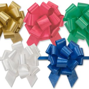 "Flora Satin Gift Pull Bows - Christmas Assortment 2.5"" Pull Bows Emerald, H.Gold, Red, White, Royal (4 Packs; 50 Bows Per Pack)"