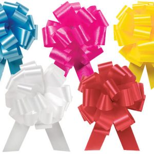 "Flora Satin Gift Pull Bows - Everyday Assortment 2.5"" Pull Bows L.Blue, Beauty, Daffodil, White,Red (4 Packs; 50 Bows Per Pack)"
