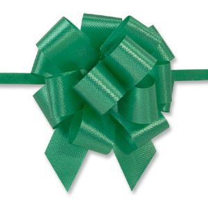 "Flora Satin Gift Pull Bows - Emerald Flora Satin 2.5"" Pull Bows 2.5"" - 14 Loops -100% Polypropylene (5 Packs; 50 Bows Per Pack)"