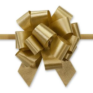 "Flora Satin Gift Pull Bows - Holiday Gold Poly 2.5"" Pull Bows 2.5"" - 14 Loops -100% Polypropylene (5 Packs; 50 Bows Per Pack)"