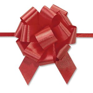 """Flora Satin Gift Pull Bows - Red Flora Satin 2.5"""" Pull Bows 2.5"""" - 14 Loops -100% Polypropylene (5 Packs; 50 Bows Per Pack)"""