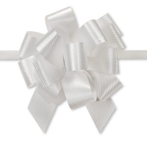 "Flora Satin Gift Pull Bows - White Flora Satin 2.5"" Pull Bows 2.5"" - 14 Loops -100% Polypropylene (5 Packs; 50 Bows Per Pack)"