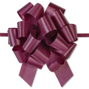 "Flora Satin Gift Pull Bows - Burgundy Flora Satin 4"" Pull Bows 4"" - 18 Loops - 100% Polypropylene (3 Packs; 50 Bows Per Pack)"