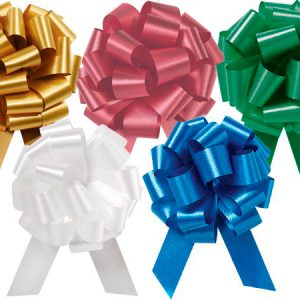 """Flora Satin Gift Pull Bows - Christmas Assortment 4"""" Pull Bows Emerald, H.Gold, Red, White, Royal (3 Packs; 50 Bows Per Pack)"""