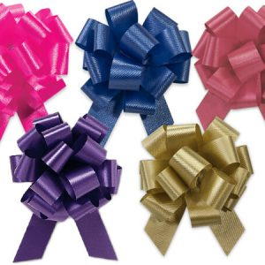 """Flora Satin Gift Pull Bows - Fashion Assortment 4"""" Pull Bows Beauty, Choc, Citrus, Purple, Pink (3 Packs; 50 Bows Per Pack)"""