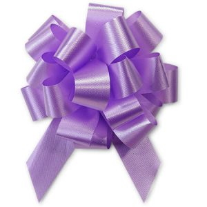 "Flora Satin Gift Pull Bows - Lavender Flora Satin 4"" Pull Bows 4"" - 18 Loops - 100% Polypropylene (3 Packs; 50 Bows Per Pack)"