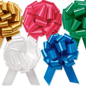 "Flora Satin Gift Pull Bows - Christmas Assortment 5.5"" Pull Bows Emerald, H.Gold, Red, White, Royal (2 Packs; 50 Bows Per Pack)"