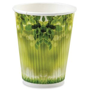 Insulated Coffee Cups - Morning Dew 8 oz Groove Paper Cups Made In The USA (500 cups)