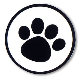 """Paw Print Black On Clear Seals 1 -1/2"""" Round Hot Stamp (3 Packs; 500 Labels Per Pack)"""