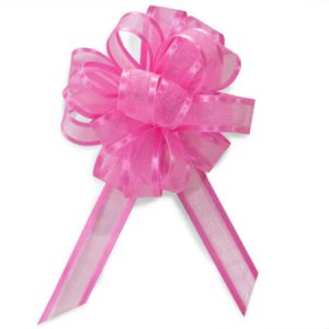 "Sheer Gift Pull Bows - Pretty Pink Sheer w/ Satin Edge 4"" (5/8"" ribbon) - 18 Loops- Organza Pull Bow (4 Packs; 12 Bows Per Pack)"