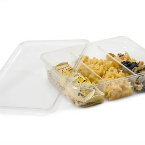 """Clear Food Containers - 64 oz Rectangle W/3 Dividers Containers 9x7x2 - 3/8"""" - (100 Per Pack)"""