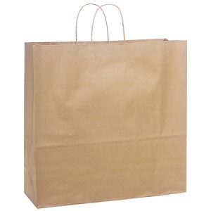"100% Recycled Brown Paper Bags - Jumbo 100% Recycled Paper Bags Bulk 18x7x18""  (200 bags)"