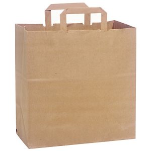 "100% Recycled Brown Paper Bags - Market 100% Recycled Paper Bags Bulk 12x7x12"" Flat Handle (250 bags)"
