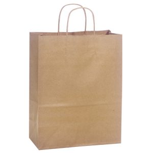 "100% Recycled Brown Paper Bags - Carrier 100% Recycled Paper Bags Mini Pk 10x5x13"" (4 Packs; 25 Bags Per Pack)"