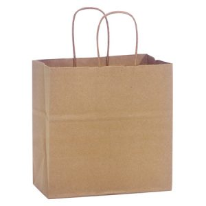"100% Recycled Brown Paper Bags - Junior 100% Recycled Paper Bags Mini Pk 8x5x8"" (4 Packs; 25 Bags Per Pack)"