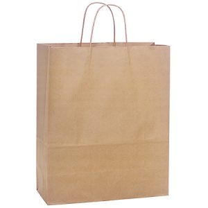 "100% Recycled Brown Paper Bags - Medium 100% Recycled Paper Bags Mini Pk 13x6x16"" (4 Packs; 25 Bags Per Pack)"