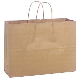 "100% Recycled Brown Paper Bags - Vogue 100% Recycled Paper Bags Mini Pk 16x6x12"" (4 Packs; 25 Bags Per Pack)"