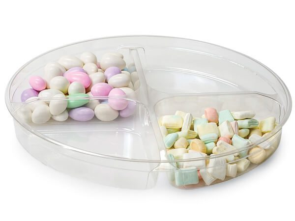 """Clear Food Containers - 48 oz Round Container w/ 4 Divide 9 - 3/4"""" Dia.x1 - 1/4"""" Deep - (100 Per Pack)"""
