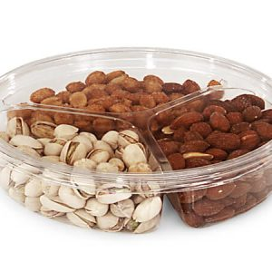 "Clear Food Containers - 60 oz Round Container W/3 Dividers 9 - 3/4"" Dia.x1 - 3/4""deep - (100 Per Pack)"