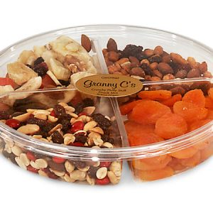 """Clear Food Containers - 58 oz Round Container W/4 Dividers 9 - 3/4"""" Dia.x1 - 3/4"""" Deep - (100 Per Pack)"""