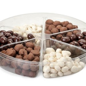 """Clear Food Containers - 52 oz Round Container W/6 Divider 9 - 3/4"""" Dia.x1 - 3/4"""" Deep - (100 Per Pack)"""