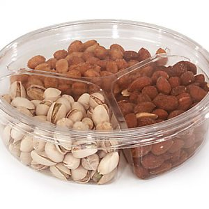 """Clear Food Containers - 30 oz Round Container w/3 Dividers 6 - 3/4"""" Dia.x2"""" Deep - (250 Per Pack)"""